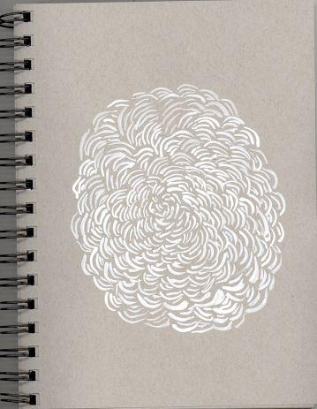 "Pamela Markoya White Acrylic on Gray Paper 9"" x 7"""