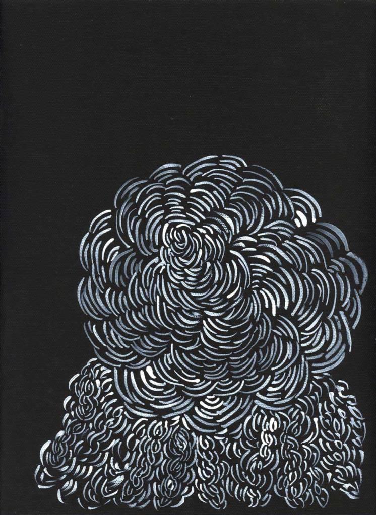 """Pamela Markoya White Acrylic Paint on Black Gesso Canvas 12"""" x 9"""""""