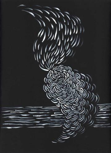 """Pamela Markoya White Acrylic Paint on Black Gesso Canvas 12"""" x 9""""Pamela Markoya White Acrylic Paint on Black Gesso Canvas 12"""" x 9"""""""