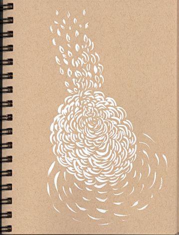"Pamela Markoya White Acrylic on Tan Paper 9"" x 7"""